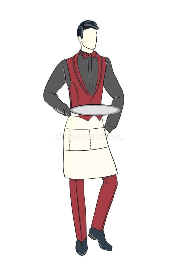 Esboço da forma dos desenhos animados do garçom com placa fotografia de stock royalty free