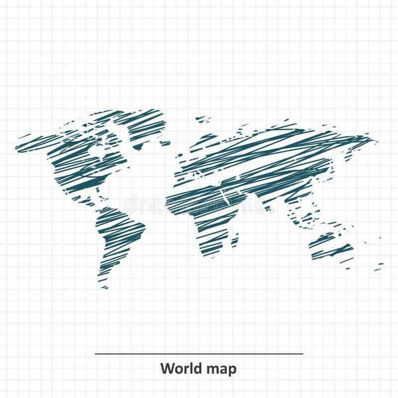 Esboço da garatuja do mapa do mundo ilustração stock