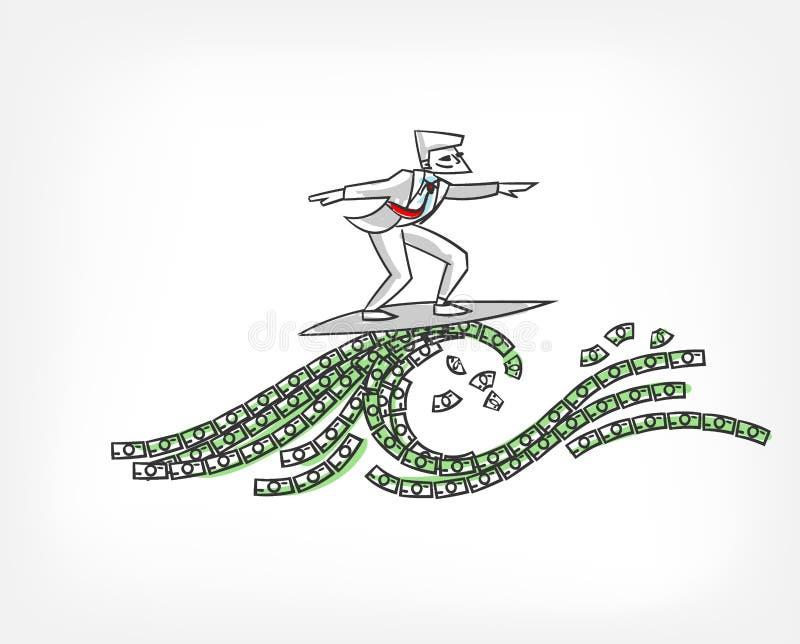 Esboço da garatuja da ilustração do vetor do conceito de fluxo do dinheiro ilustração do vetor