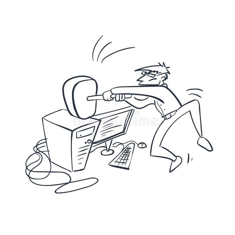 Esboço da garatuja da ilustração do vetor do verificador do programa informático ilustração stock