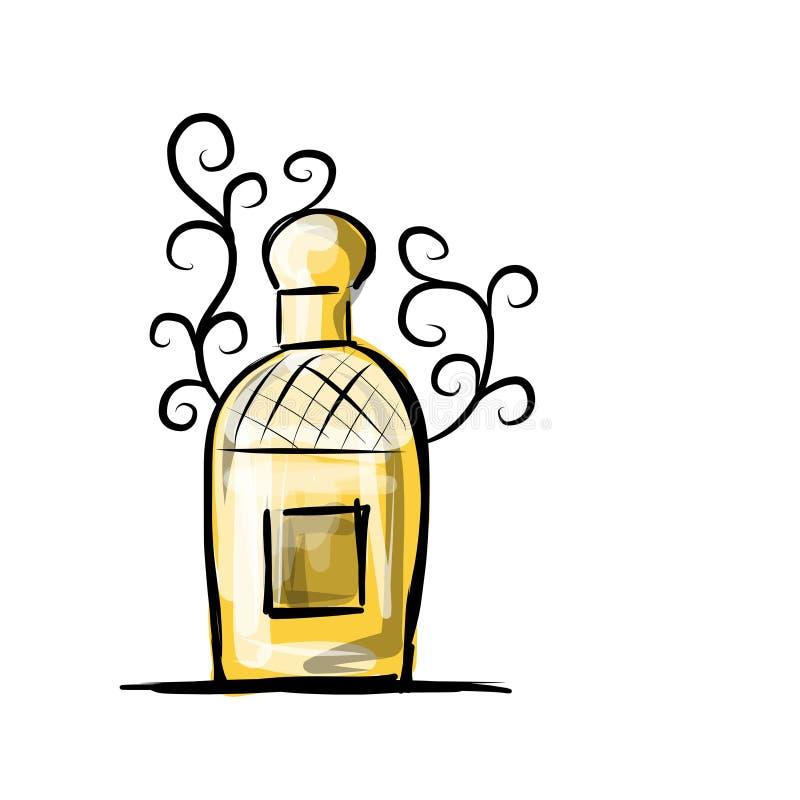 Esboço da garrafa de perfume para seu projeto ilustração stock