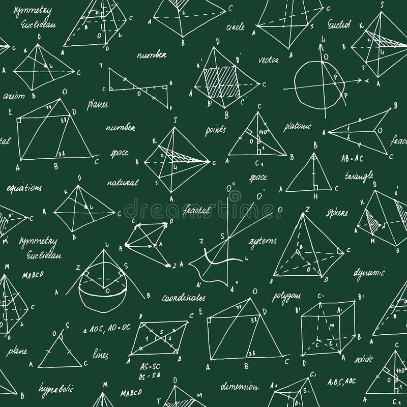 Esboço da geometria Textura sem emenda Quadro-negro da escola com os esboços e os elementos geométricos ilustração do vetor