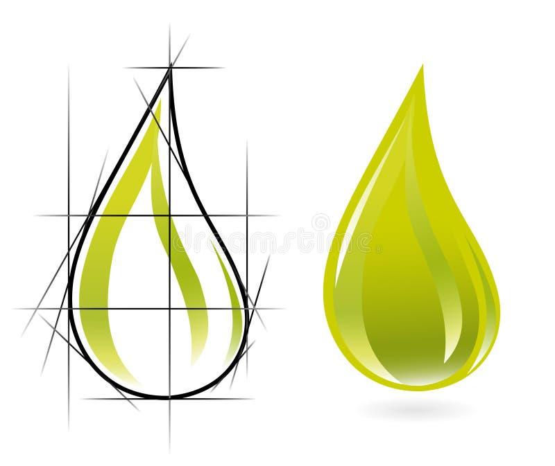 Esboço da gota do petróleo verde-oliva ilustração stock