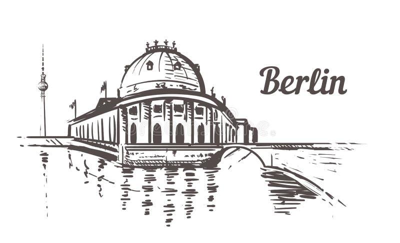 Esboço da ilha de museu de Berlim Ilustração tirada mão de Berlim, Alemanha ilustração do vetor