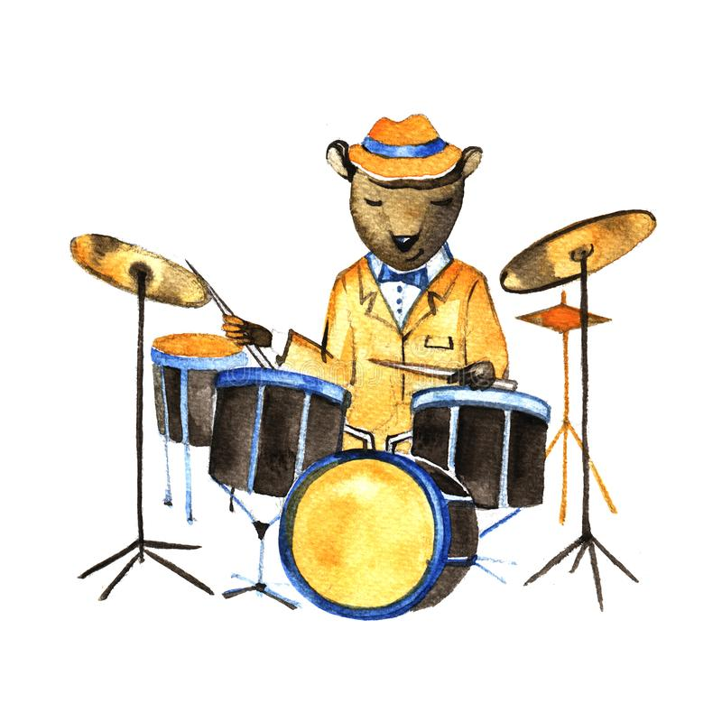 Esboço da ilustração da aquarela - urso que joga em cilindros ilustração stock