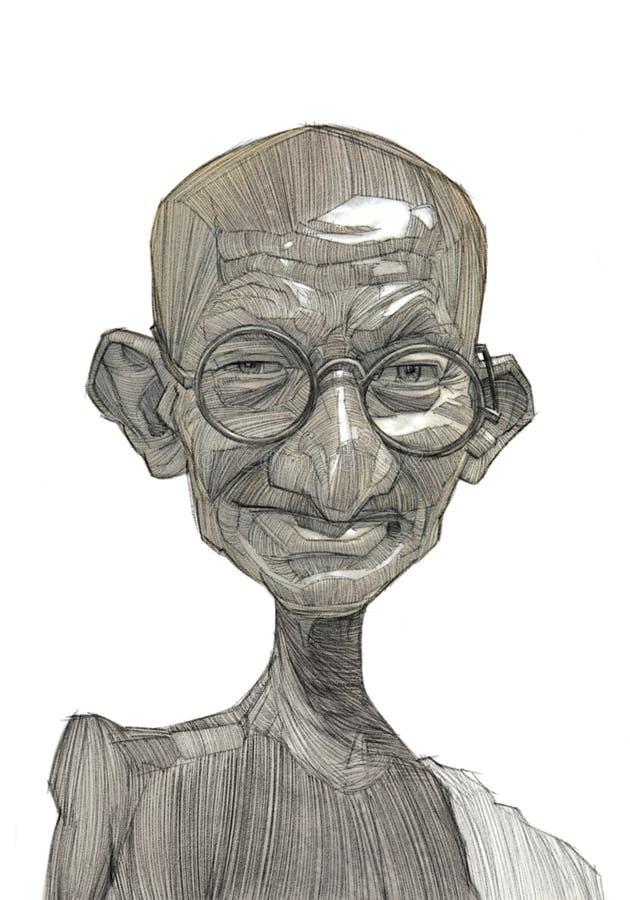 Esboço da ilustração de Mahatma Gandhi ilustração stock