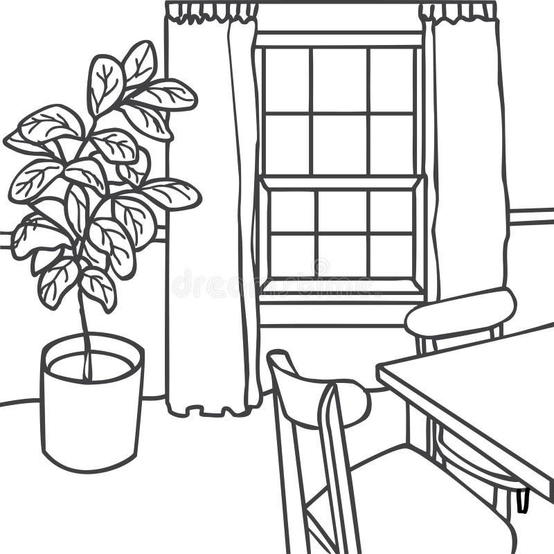 Esboço da ilustração do design de interiores Sala de visitas moderna s na moda ilustração do vetor