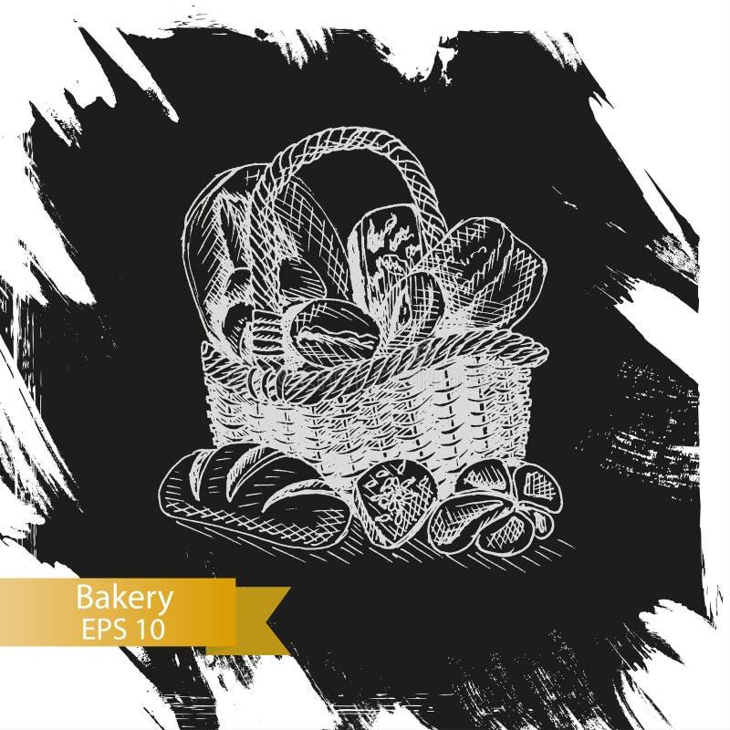 Esboço da ilustração do vetor - loja da padaria ilustração stock