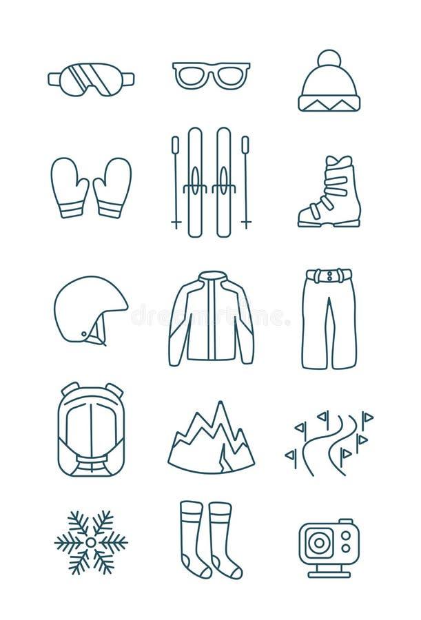 Esboço da ilustração do vetor da roupa do jogo do equipamento do grupo do ícone do esqui ilustração do vetor