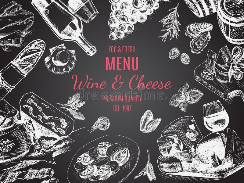 Esboço da ilustração do vetor - vinho e queijo Restaurante do menu do cartão molde do projeto do vintage, bandeira ilustração do vetor
