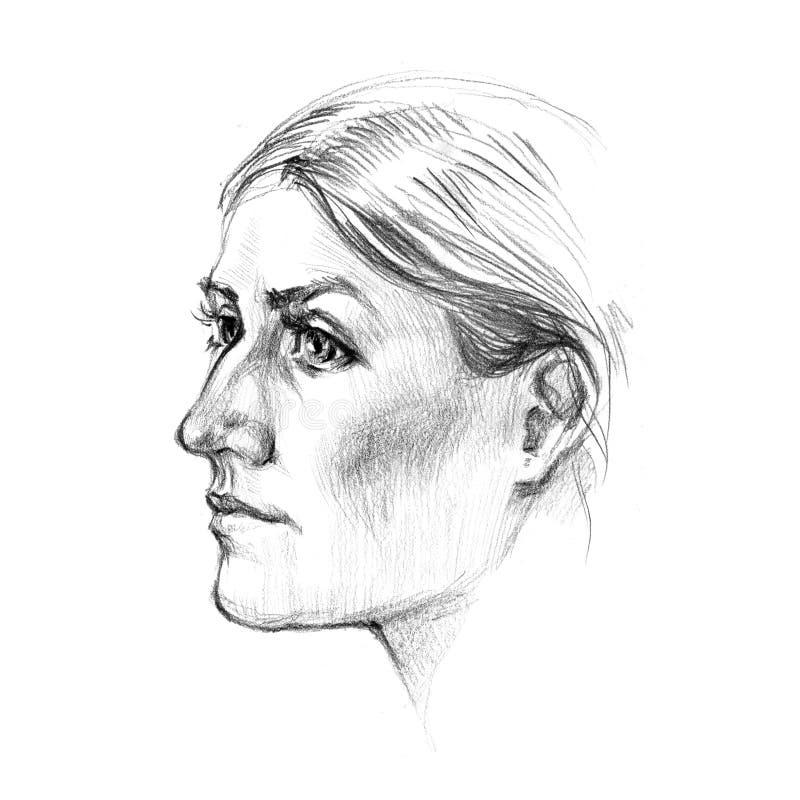Esboço da ilustração tirada da cara da mulher mão bonita no fundo branco ilustração do vetor