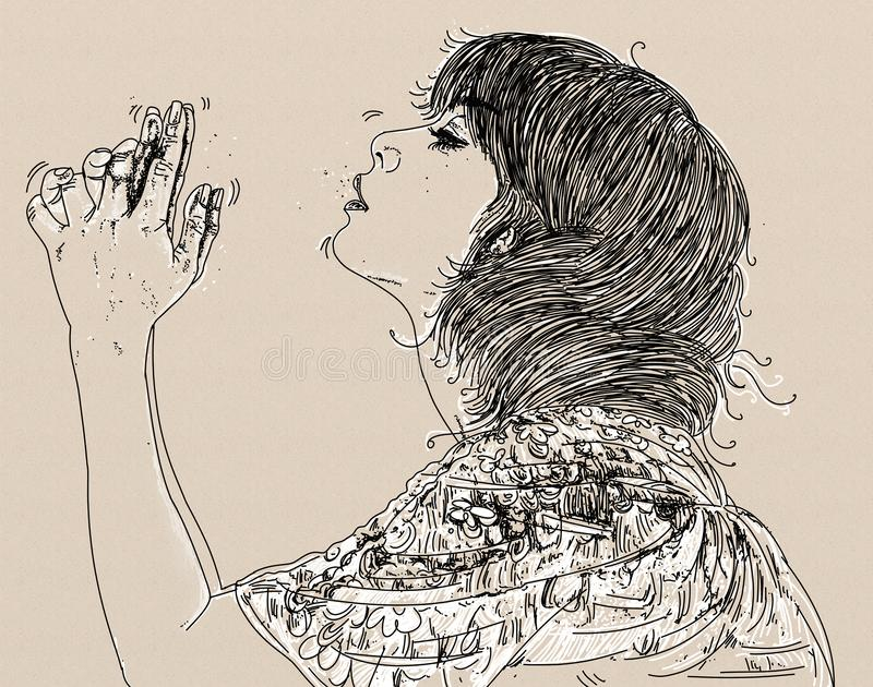 Esboço da jovem mulher visto do lado com a mão levantada na oração, ilustração royalty free
