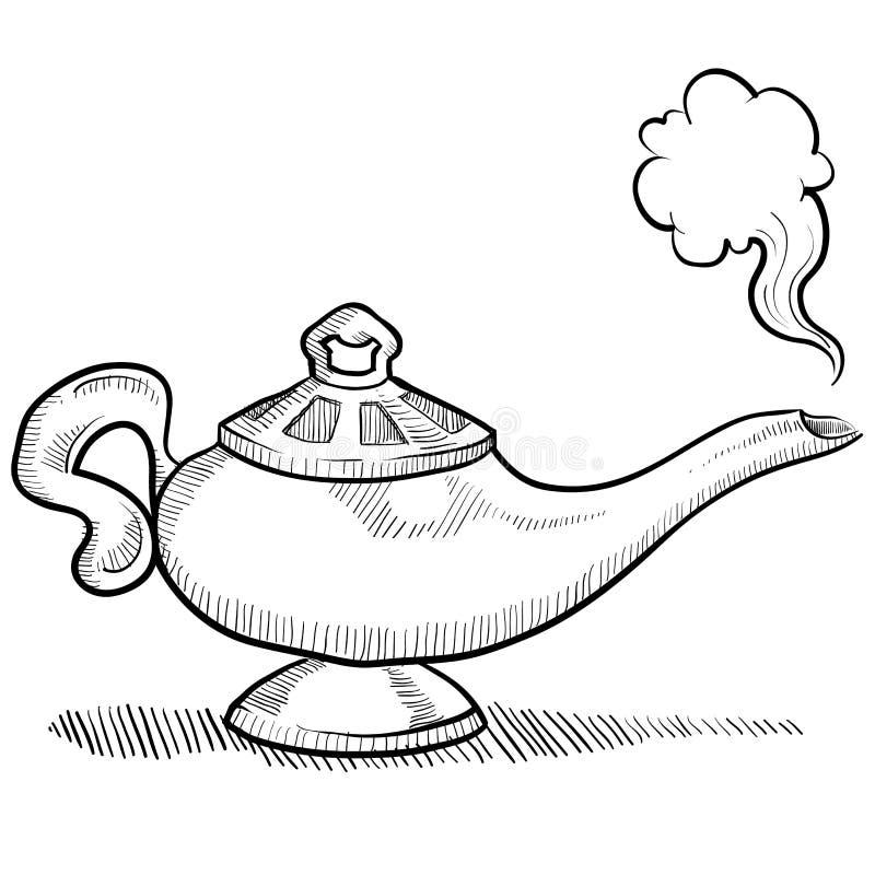Esboço da lâmpada dos génios ilustração stock
