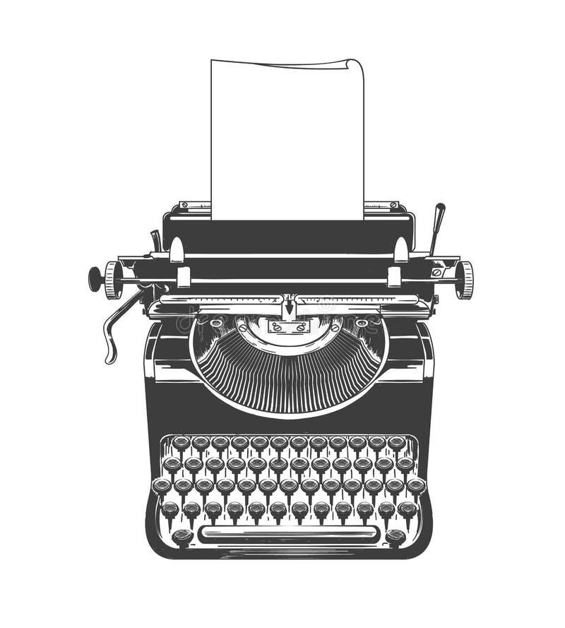 Esboço da máquina do vintage da máquina de escrever ilustração royalty free