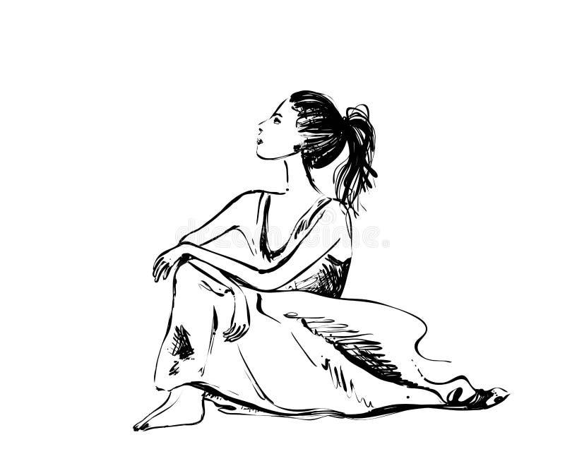 Esboço da menina de sonho Desenho da arte do vetor da jovem mulher bonita que pensa e que olha para cima ilustração stock
