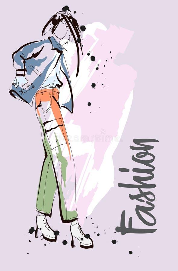 Esboço da menina da forma Modelo de forma à moda ilustração do vetor