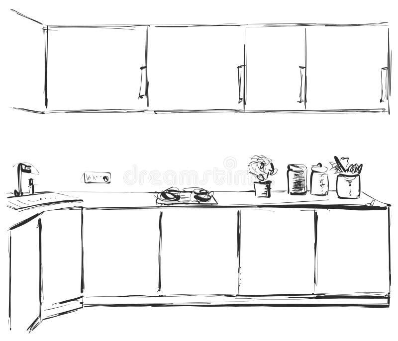 Esboço da mobília da cozinha Armário tirado mão ilustração stock