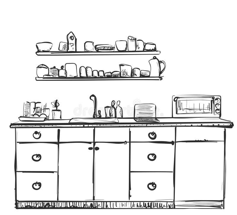 Esboço da mobília da cozinha Armário tirado mão ilustração royalty free