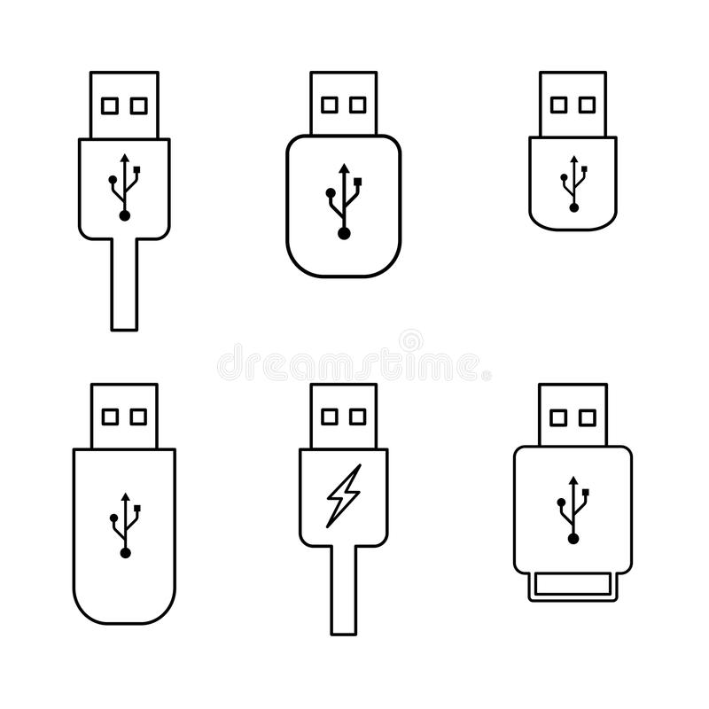 Esboço da movimentação do flash do Usb ilustração stock