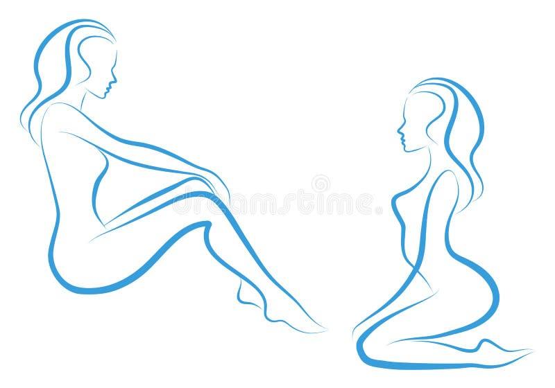 Esboço da mulher,   ilustração do vetor