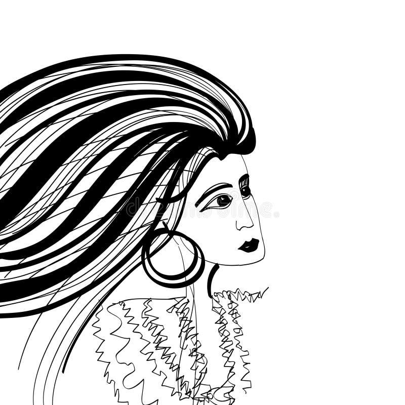 Esboço da mulher com cabelo de vibração ilustração royalty free