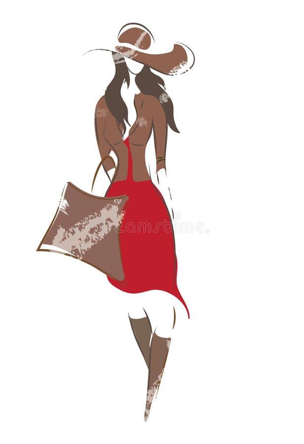 Esboço da mulher da forma ilustração do vetor