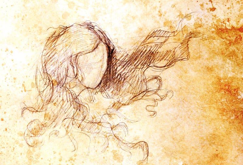 Esboço da mulher e do cabelo de vibração Desenho de lápis no papel velho Efeito da cor ilustração do vetor