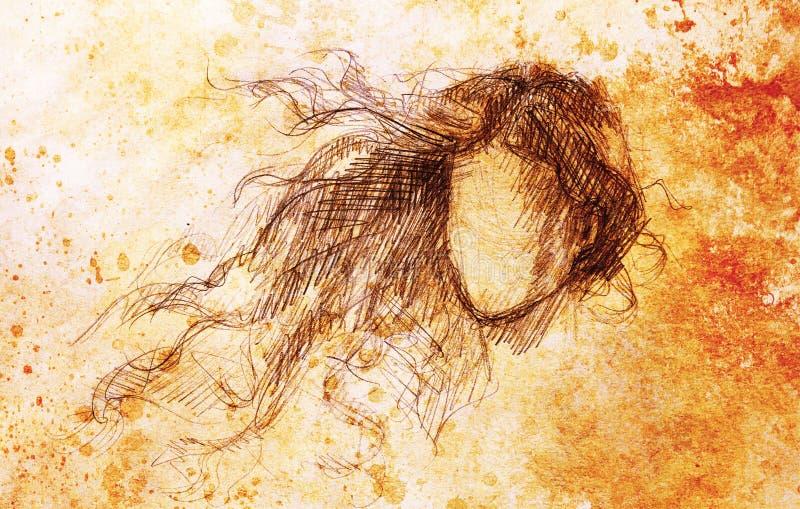 Esboço da mulher e do cabelo de vibração Desenho de lápis no papel velho Efeito da cor ilustração royalty free