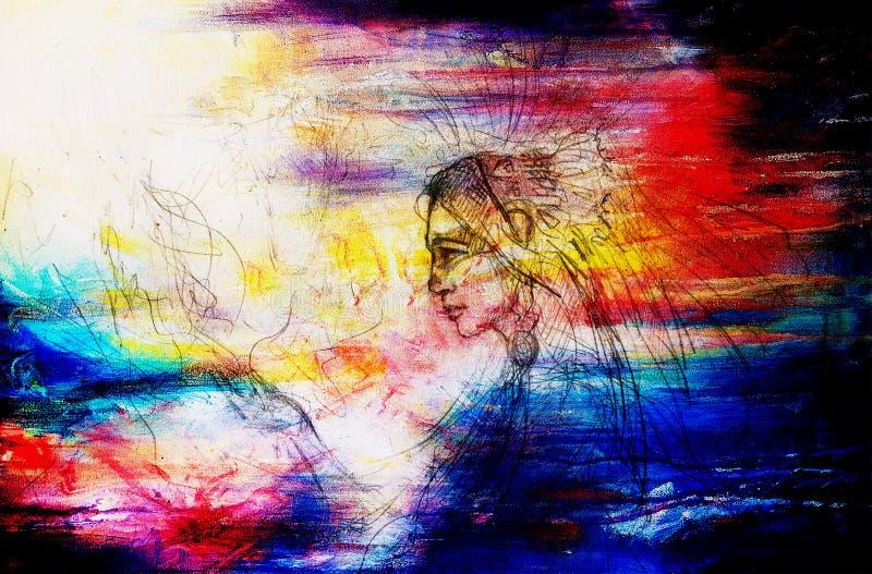 Esboço da mulher indiana Desenho de lápis no papel velho foto de stock