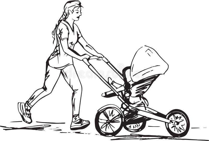 Esboço da mulher que corre com carrinho ilustração stock