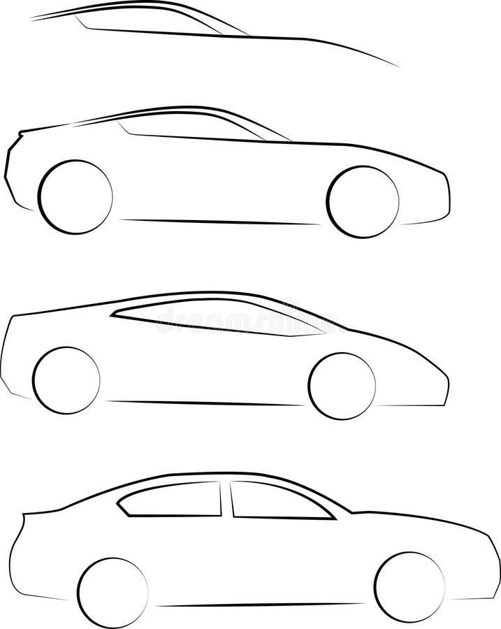 Esboço da opinião lateral dos carros ilustração do vetor