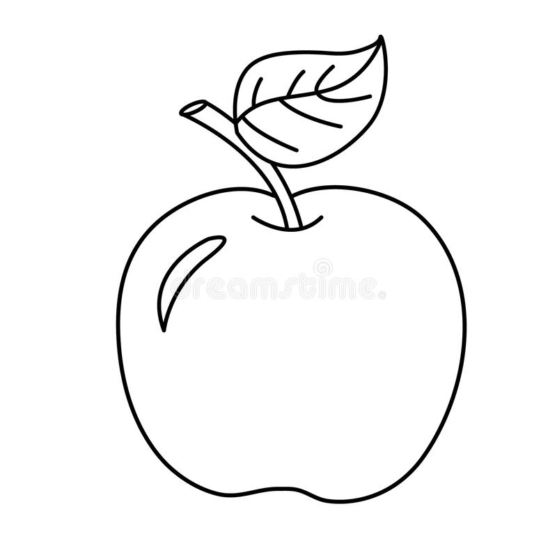 Esboço da página da coloração da maçã dos desenhos animados Frutas Livro de coloração ilustração royalty free