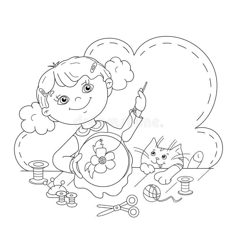 Esboço da página da coloração da menina dos desenhos animados com bordado ilustração stock