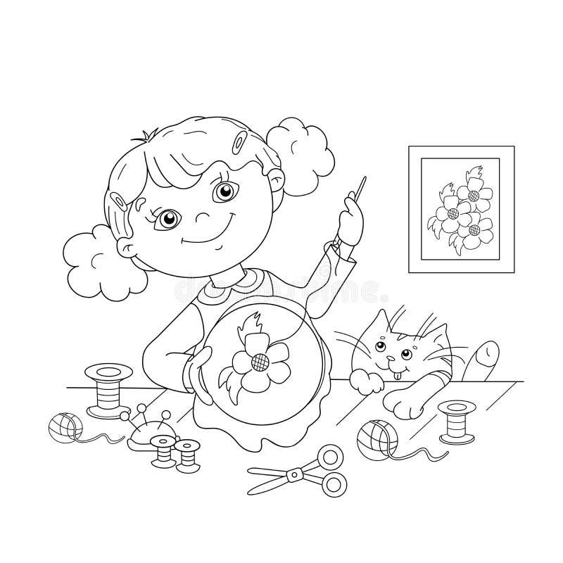 Esboço da página da coloração da menina dos desenhos animados com bordado ilustração royalty free