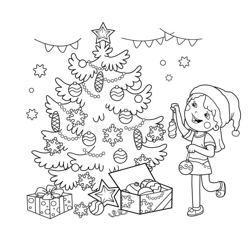 Esboço da página da coloração da menina dos desenhos animados que decora a árvore de Natal com presentes Natal Ano novo Livro par ilustração stock