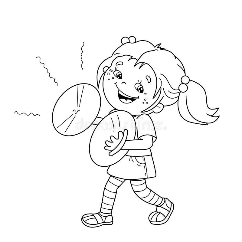 Esboço da página da coloração da menina dos desenhos animados que joga os pratos ilustração do vetor