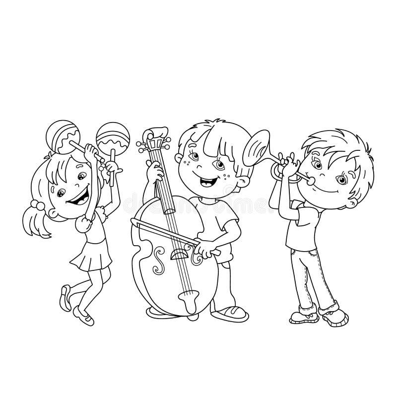 Esboço da página da coloração das crianças que jogam instrumentos musicais ilustração stock
