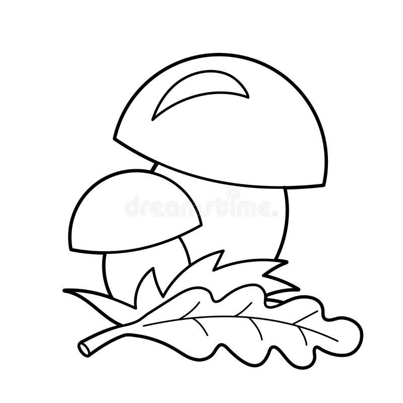 Esboço da página da coloração de cogumelos dos desenhos animados Presentes do verão da natureza Livro para colorir para crianças ilustração do vetor