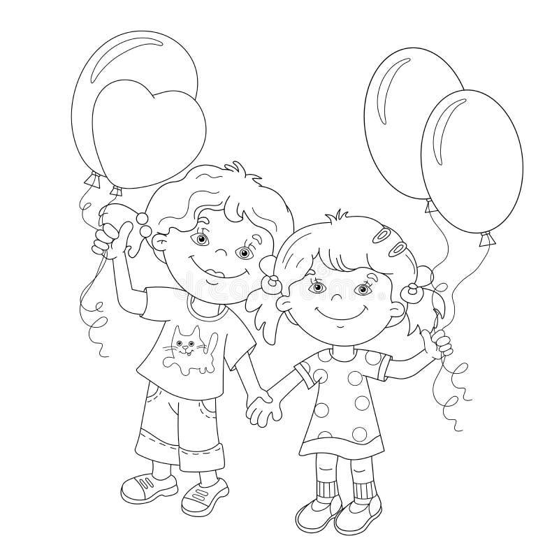 Esboço da página da coloração de meninas dos desenhos animados com balões ilustração royalty free