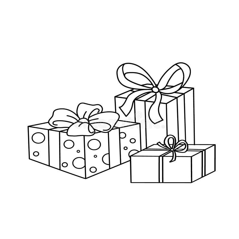 Esboço da página da coloração de presentes de época natalícia dos desenhos animados ilustração stock