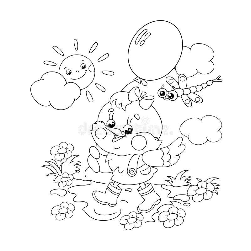 Esboço da página da coloração de uma galinha feliz que anda com um balão ilustração stock