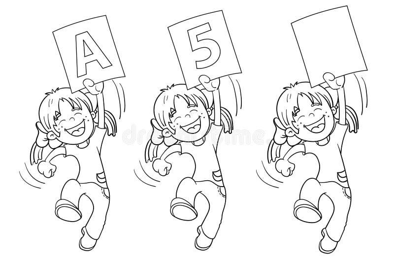 Esboço da página da coloração de uma menina de salto dos desenhos animados ilustração do vetor