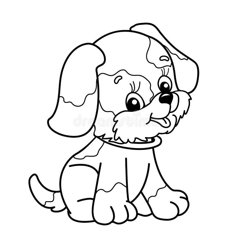 Esboço da página da coloração do cão dos desenhos animados Assento bonito do filhote de cachorro pet ilustração royalty free