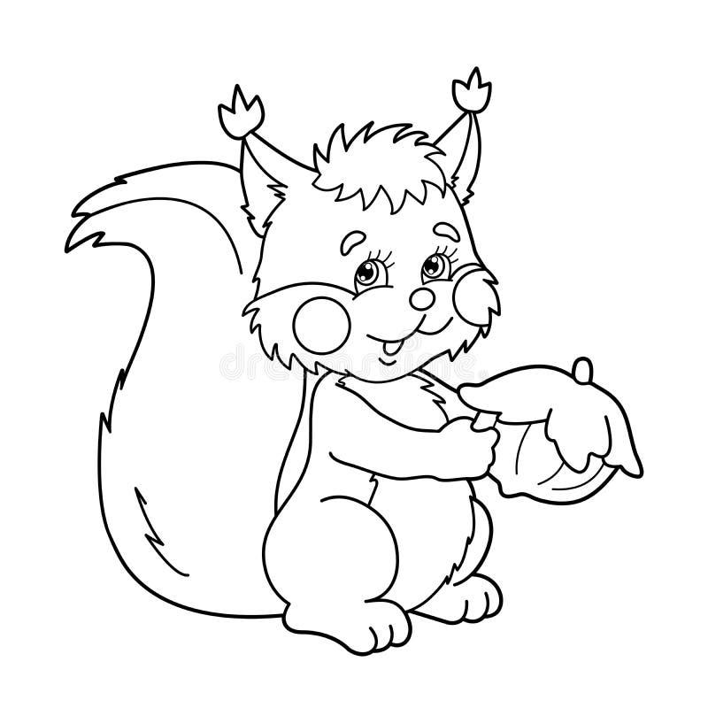 Esboço da página da coloração do esquilo dos desenhos animados com porca Livro para colorir para crianças ilustração do vetor