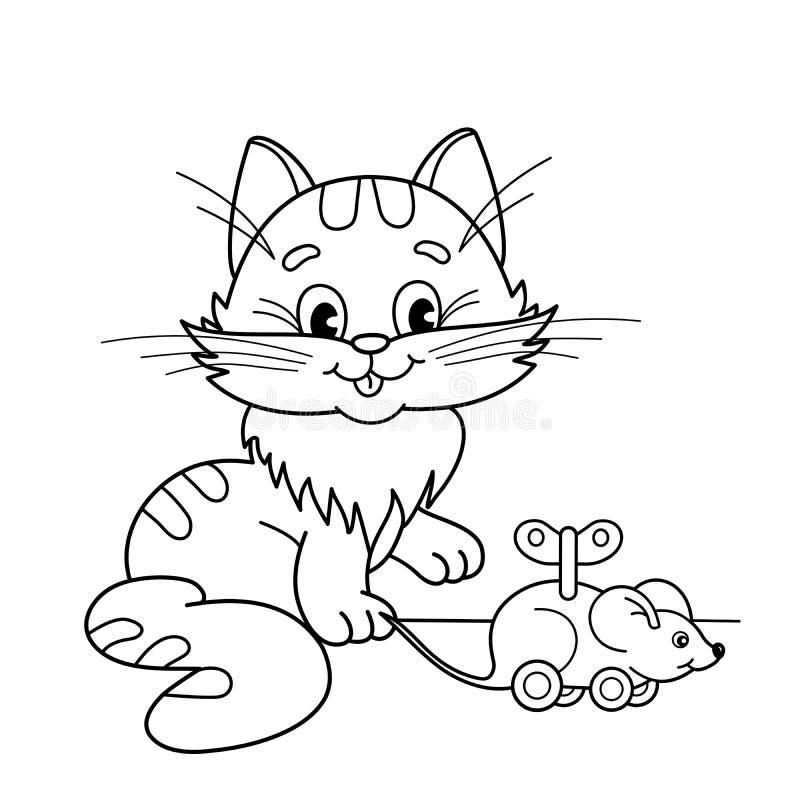 Esboço da página da coloração do gato dos desenhos animados com o rato do maquinismo de relojoaria do brinquedo Livro para colori ilustração stock
