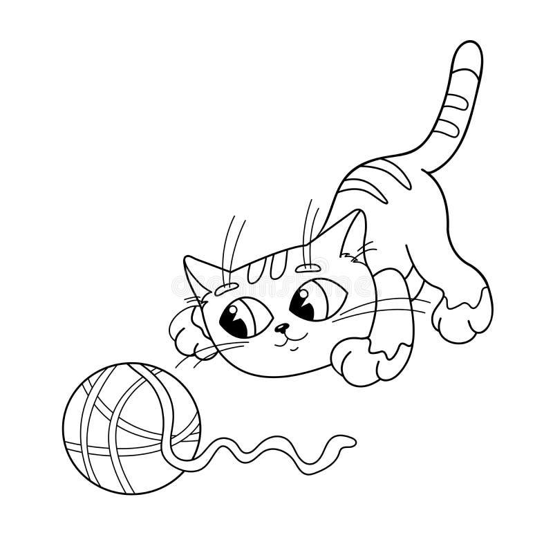 Esboço da página da coloração do gato que joga com a bola do fio ilustração stock