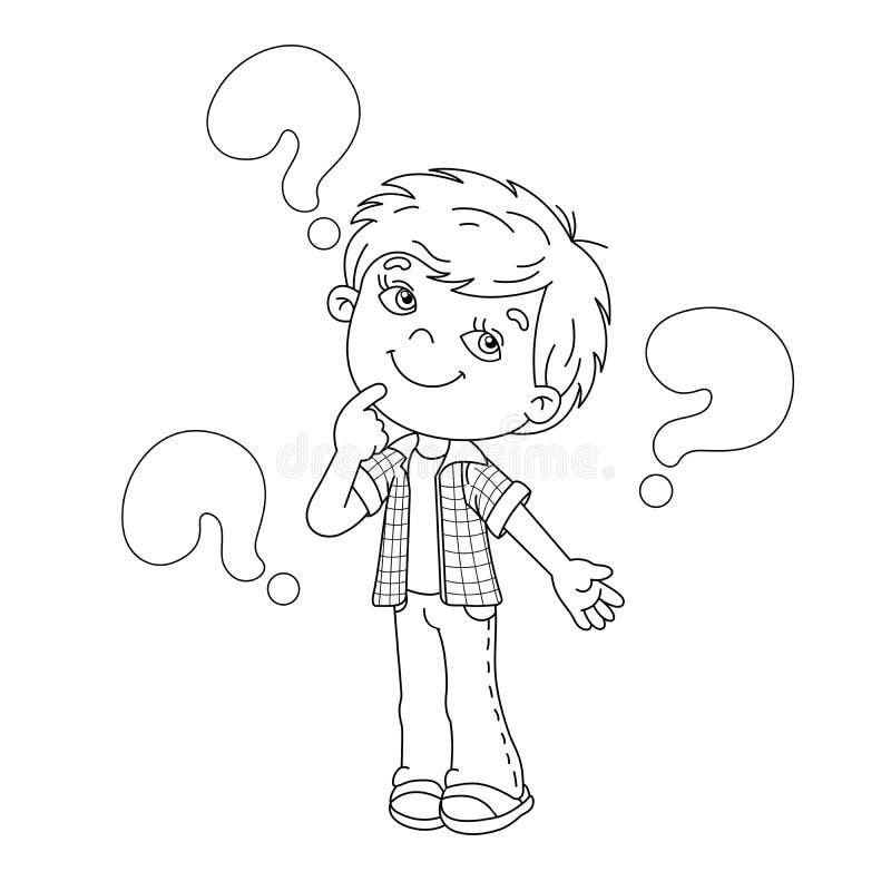 Esboço da página da coloração do menino dos desenhos animados com as perguntas grandes ilustração stock