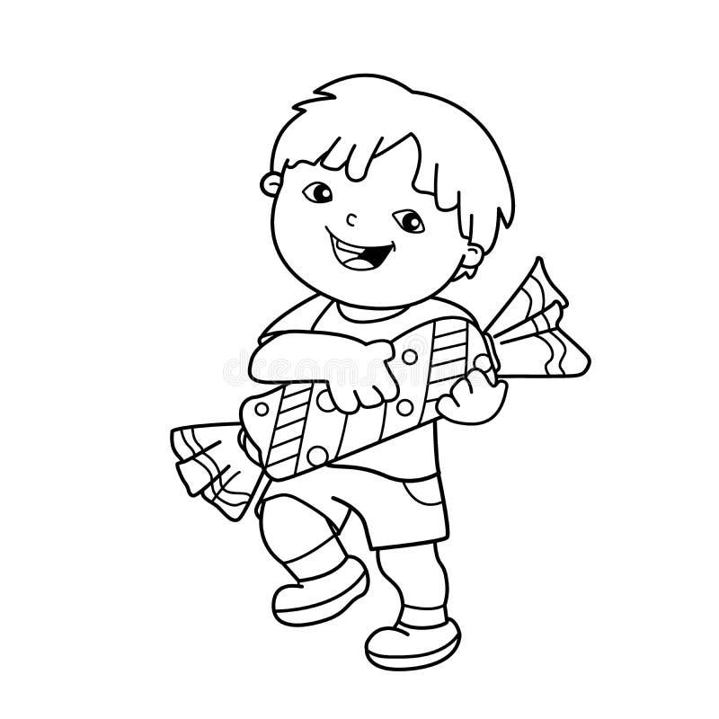Esboço da página da coloração do menino dos desenhos animados com com os doces Livro para colorir para crianças ilustração stock