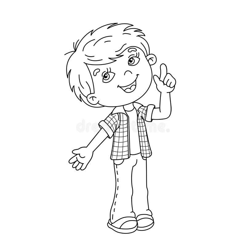 Esboço da página da coloração do menino dos desenhos animados com grande ideia ilustração stock