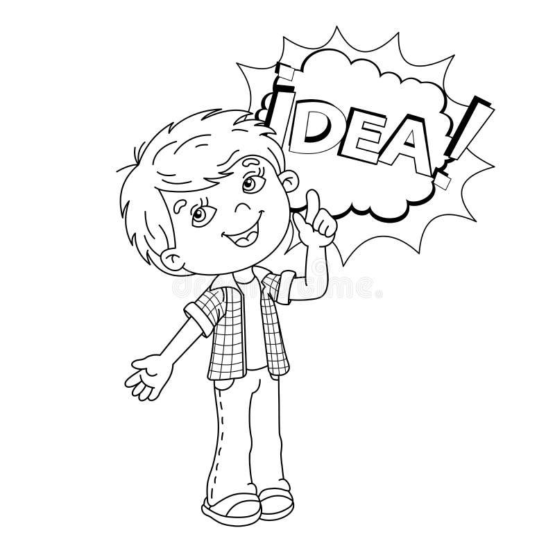 Esboço da página da coloração do menino dos desenhos animados com grande ideia ilustração royalty free